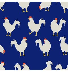 rooster pattern dark blue vector image
