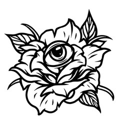 Rose with all seeing eye tattoo vector