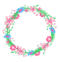 Round floral frame hand-drawn spring colors vector