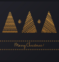 Set of geometric golden linear graphic christmas vector