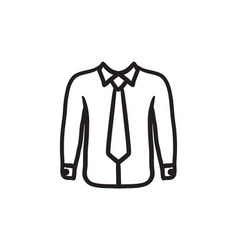 Shirt with tie sketch icon vector