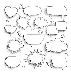 speech bubbles cartoon comics talk think and vector image