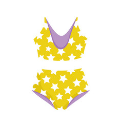 starry bikini swimsuit fashion cartoon isolated vector image