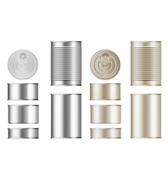 tin can set isolated blank canned food vector image