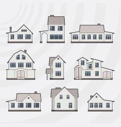 Townhouses icon set vector