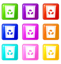 Trash bin with recycle symbol icons 9 set vector
