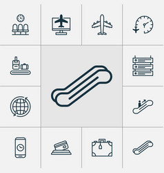 Travel icons set collection of suitcase call vector