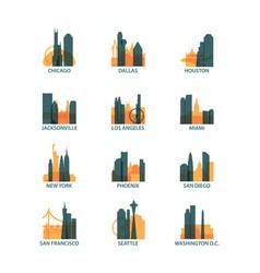 Usa cities icons set skyline logo pack vector