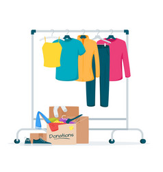 Used clothes donation flat vector