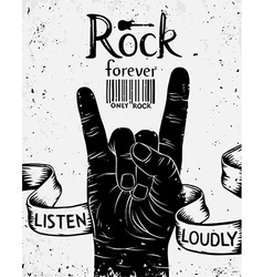 Vintage poster with rock forever Rock and Roll han vector