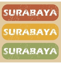 Vintage Surabaya stamp set vector