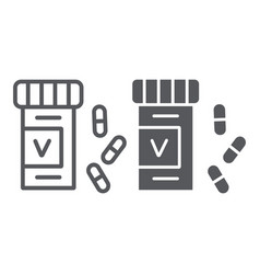 vitamins bottle line and glyph icon health and vector image