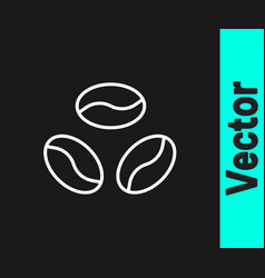white line coffee beans icon isolated on black vector image