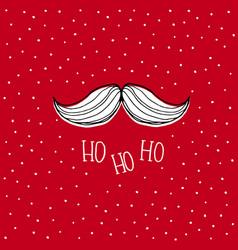 white santa claus moustache red card vector image