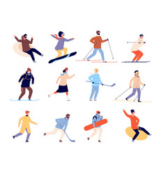 winter sports characters active skate skier vector image