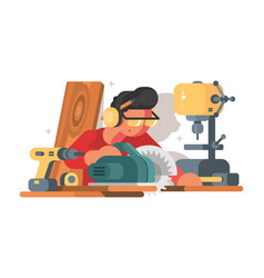 Woodworker man at workplace vector