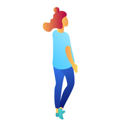 young businesswoman from the back isometric 3d vector image