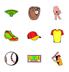 baseball cap icons set cartoon style vector image vector image