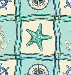 Nautical patchwork seamless pattern vector image vector image