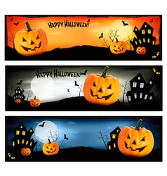 three colorful halloween banners vector image vector image