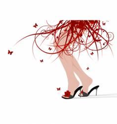 female feet floral skirt vector image vector image