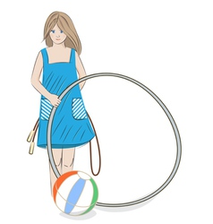 Girl with hula hoop beach ball and skipping rope vector image vector image