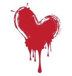 Grunge red heart vector