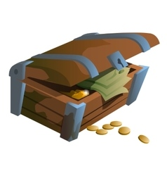 Old chest with coins and money banknotes vector image