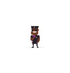 pixel art policeman vector image