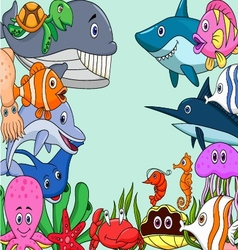 Sea life cartoon background vector image