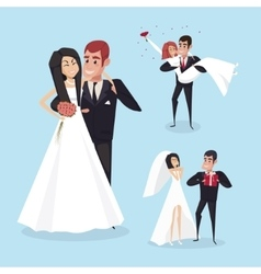 Set of wedding cartoon situations with the bride vector