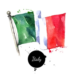 Watercolor italy flag hand drawn on white vector