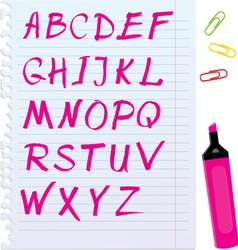 Alphabet set - letters are made of magenta color vector image vector image