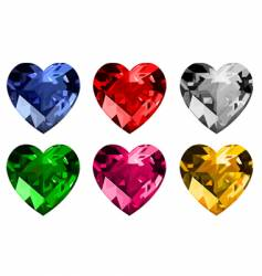diamond hearts vector image vector image