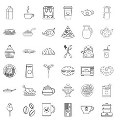 dinner food icons set outline style vector image