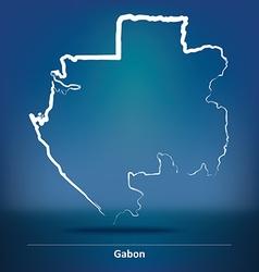 Doodle Map of Gabon vector image