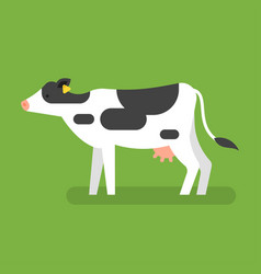 flat style of cow vector image vector image