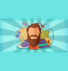 hipster man horizontal banner blue cartoon style vector image