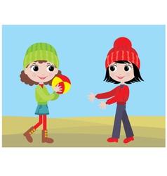 little girls play a ball vector image