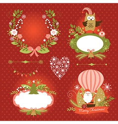Set of Christmas and New Year graphic elements vector image vector image