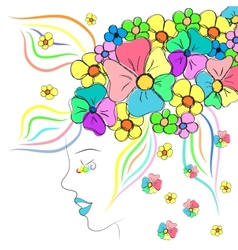 Beautiful girl with hat of flowers vector image