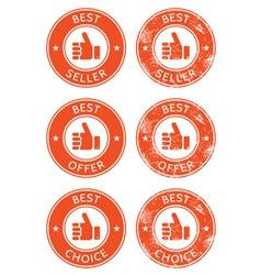 Best seller choice offer retro grunge badges vector image vector image