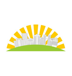 city logo new house emblem building and sun sign vector image vector image