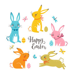 Cute multicolored easter bunnies vector