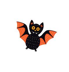 flat halloween black bat vector image vector image