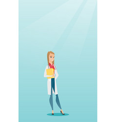 Friendly doctor with a stethoscope and a file vector