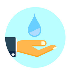 hand holds water drop icon save water flat vector image