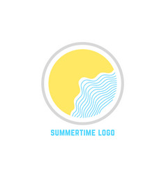 summertime logo with linear waves vector image vector image
