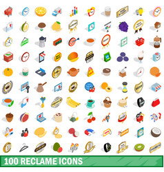 100 reclame icons set isometric 3d style vector