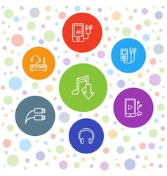 7 headphones icons vector
